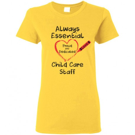 Crayon Heart Big Black Font Child Care Staff Women's T-Shirt