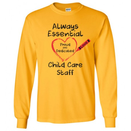 Crayon Heart Big Black Font Child Care Staff Long-Sleeved Shirt