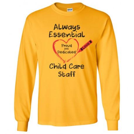 Crayon Heart Big Black Font Child Care Staff Long-Sleeved Shirt