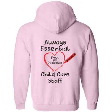 *Logo on Back* Crayon Heart Big Black Font Child Care Staff Zip-Up Hoodie