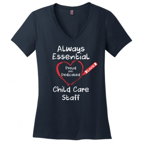 Crayon Heart Big White Font Child Care Staff Women's V-Neck T-Shirt