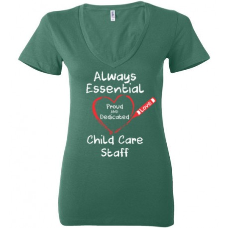 Crayon Heart Big White Font Child Care Staff Women's Deep V-Neck T-Shirt