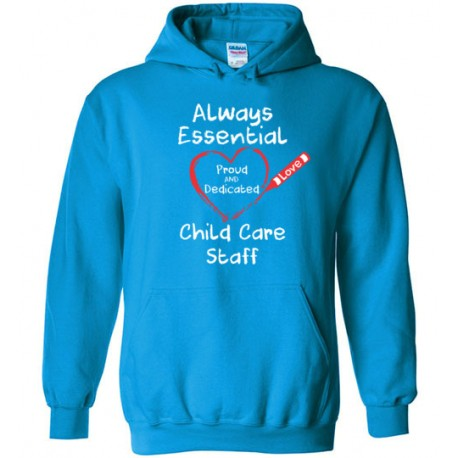 Crayon Heart Big White Font Child Care Staff Hoodie