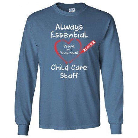 Crayon Heart Big White Font Child Care Staff Long-Sleeved