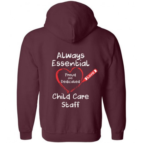 *Logo on Back* Crayon Heart Big White Font Child Care Staff Zip-Up Hoodie