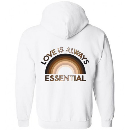 *Logo on Back* Love is Always Essential Skin-Tone Rainbow Unisex Zip-Up Hoodie