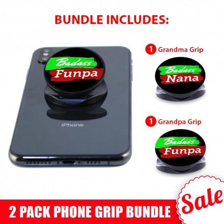 2 PK Phone Grip Bundle  Includes 1 Grandpa And 1 Grandma Phone Grip