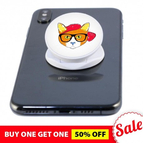 Cat White  Phone Grip