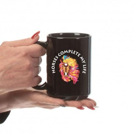 Horses Complete My Life  Black Mug