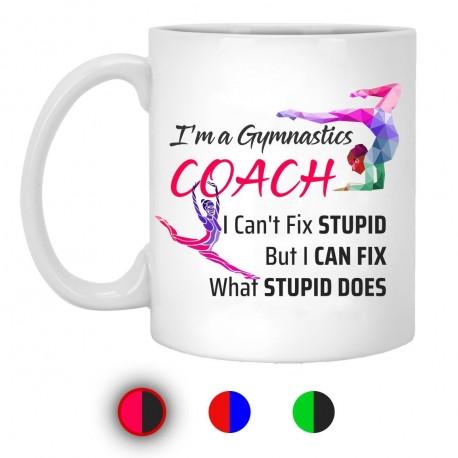 I'm A Gymnastics Coach I Can't Fix Stupid But I Can Fix What Stupid Does 11 oz. White Mug