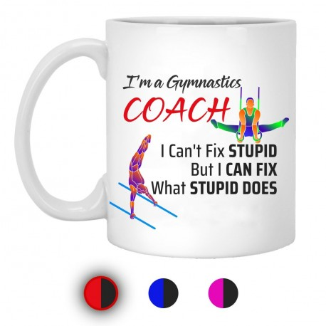 I'm A Gymnastics Coach I Can't Fix Stupid But I Can Fix What Stupid Does 11 oz. White Mug