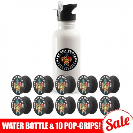 Save Sea Turtles Bundle  Water Bottle and 10 Pack Phone Grips
