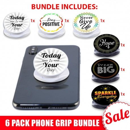 6 PK Phone Grip Bundle  Includes 6 Inspirational Phone Grips