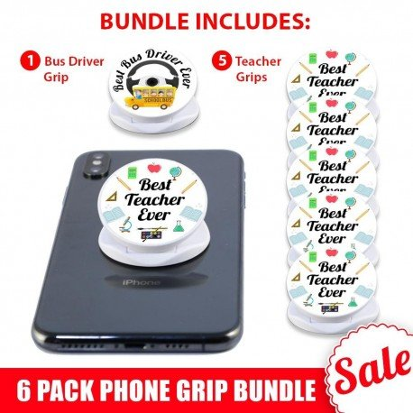 6 PK White Phone Grip Gift Bundle  Includes 5 Teachers and 1 Bus Driver Phone Grip