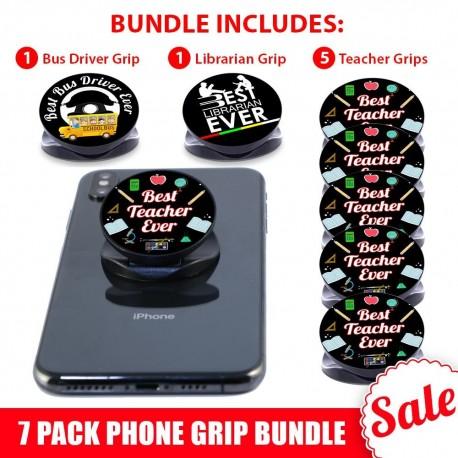 7 PK Black Phone Grip Gift Bundle  Includes 5 Teachers, 1 Bus Driver And 1 Librarian Phone Grip