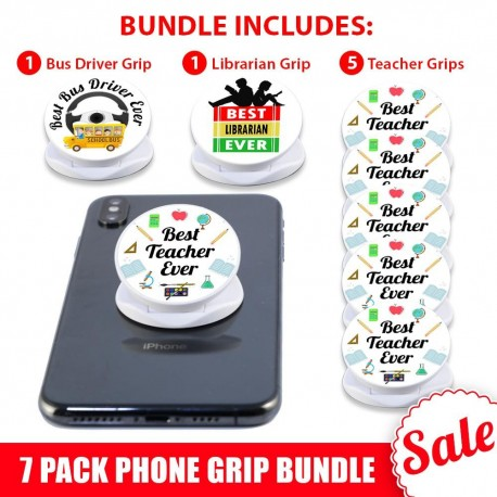 7 PK White Phone Grip Gift Bundle   Includes 5 Teachers, 1 Bus Driver And 1 Librarian Phone Grip