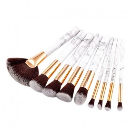 9Pcs Marble Stripe Makeup Brushes Set For Pro Mua