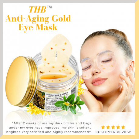 THB Osmanthus Hydrating Gold eye mask for relieving eye fatigue and puffiness around the eye.