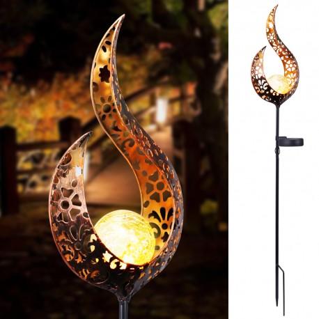Solar LED Garden Light Waterproof Retro Iron Garden Lawn Lamp Outdoor Garden Landscape Decor LED Lights Sun Moon Angle Flame