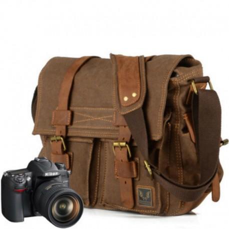 Luxury Cowboy Genuine Oilskin Leather Single Shoulder Satchel Waterproof Canvas Bags Inner Tank SLR Camera Messenger Bags