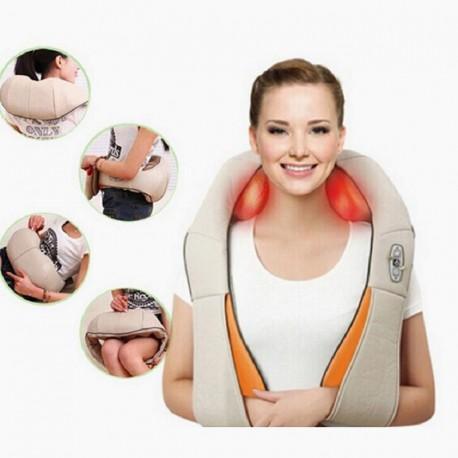 Neck Massager Back electric Shiatsu muscle Shoulder Massage Shawl 4D 16 point cushion Infrared Heated Kneading Car Home Massagem