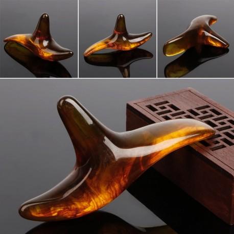 Amber Resin Wax Triangle Foot Feet Massager Gua Sha Acupuncture Shiatsu Tool