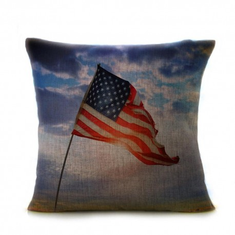 Vintage American Flag Pillow Cases Cotton Linen Sofa Cushion Cover