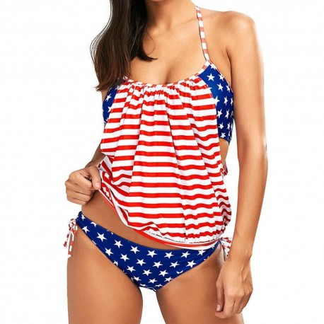 Women Bikini Set American Flag Bra Swimsuit