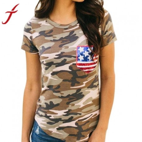 Women Camouflage T Shirt American Flag Pocket