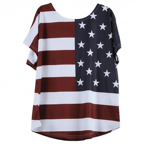 Women's American Flag Stars and Stripes Pattern Short Sleeve Loose Blouse