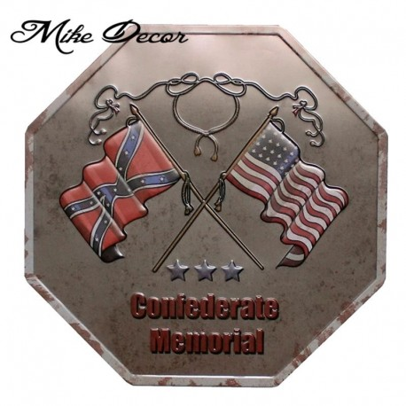 [ Mike Decor ] Memorial Confederate Metal Painting Retro Gift Irregular sign Wall decor YB833