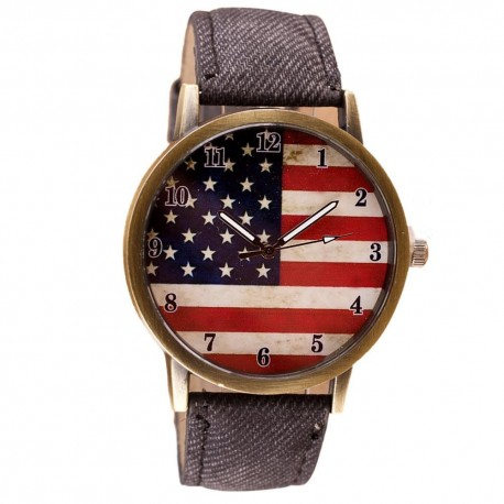 American Flag Watch With Leather Band