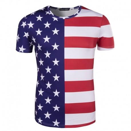 Half Star Half Stripe American Flag T Shirt