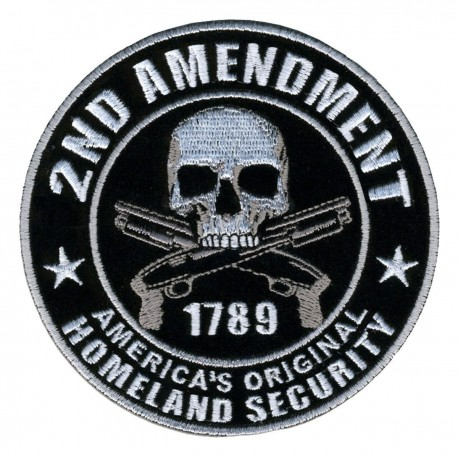HOMELAND SECURITY 2ND AMENDMENT SKULL ROUND NRA GUN PATCH Badges Fabric Armband stickers Military