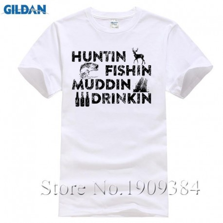 Huntinger Fishinger Mudding Drinking Mens Tee Top Country Redneck Funny Sleeve
