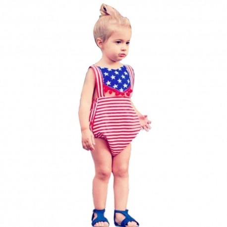 Newborn Baby USA Flag Striped Star Rompers Jumpsuit