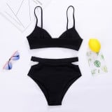 Sexy black vintage swimwear high waisted push up