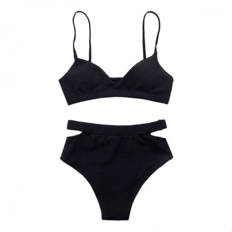 Sexy black vintage swimwear high waisted push up