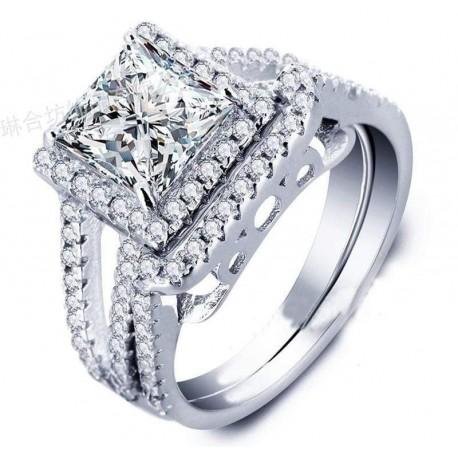 2pcs/Set Unicorn Luxury Silver Rings