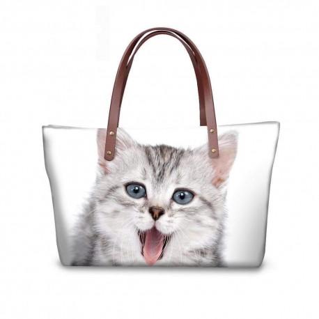 3D Cat Printing Women Handbags