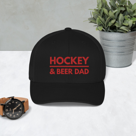 Hockey & Beer Dad Trucker Cap