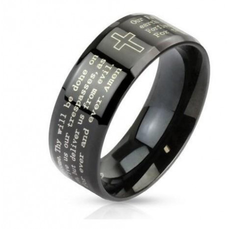 Cross and Lord's Prayer Beveled Edge Band Ring STR0092 Stainless Steel Black IP with Outlined