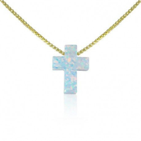 Cross Necklace  14 to 22 Inch White Opal