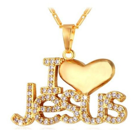""" I Love Jesus"" Pendant - U7 Christian Jewelry 18K Gold Plated Jesus Piece Love Necklace Cubic Zirconia"