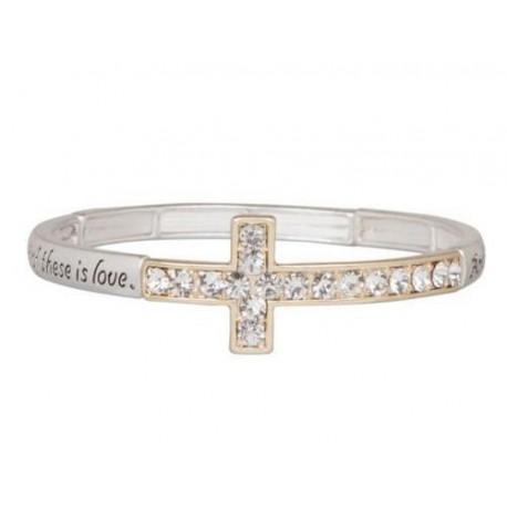 Crystal Cross Stretch Bracelet Heirloom Finds Two Tone 1 Corinthians 13:13