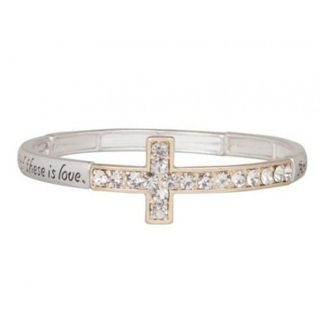 Crystal Cross Stretch Bracelet Heirloom Finds Two Tone 1 Corinthians 13:13