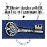 Engraved With Faith, Love, Hope, Peace, Dream & Success Inspirational Keys Pendants Necklace