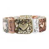 Filigree Stretch Bracelet Heirloom Finds Triple Tone Faith Hope Love Heart