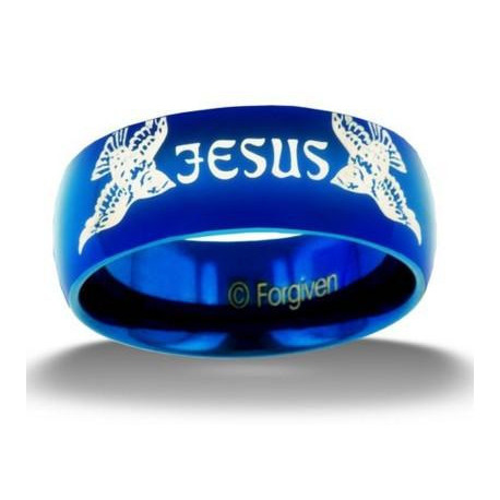 Finish Jesus Sparrow Stainless Steel Ring, Blue