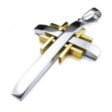 Gold Cross Vintage with 23 inch Chain Men's Stainless Steel Pendant Necklace Silver